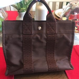 Authentic Hermes  Hand Bag  Browns Canvas